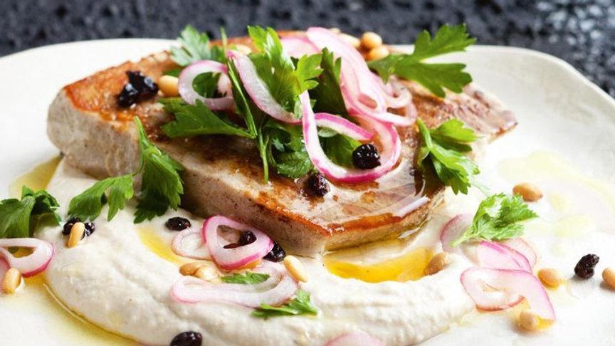 Tuna steak, white bean puree, currant and pine nut salsa