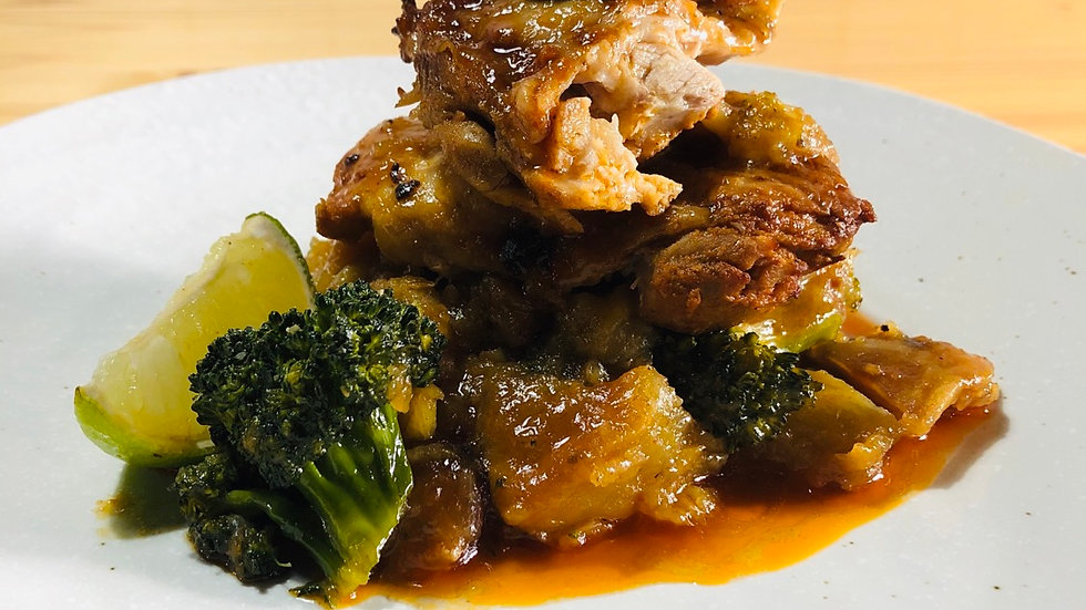 Piri Piri Chicken, smashed sweet potato and broccoli