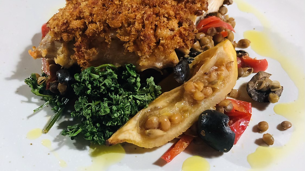 Harrissa crumbed fish with lentils and red pepper