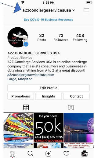A2Z Instagram page picture