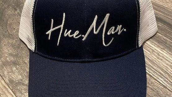 Hue.Man. Baseball Cap (Blue &White w/white lettering)