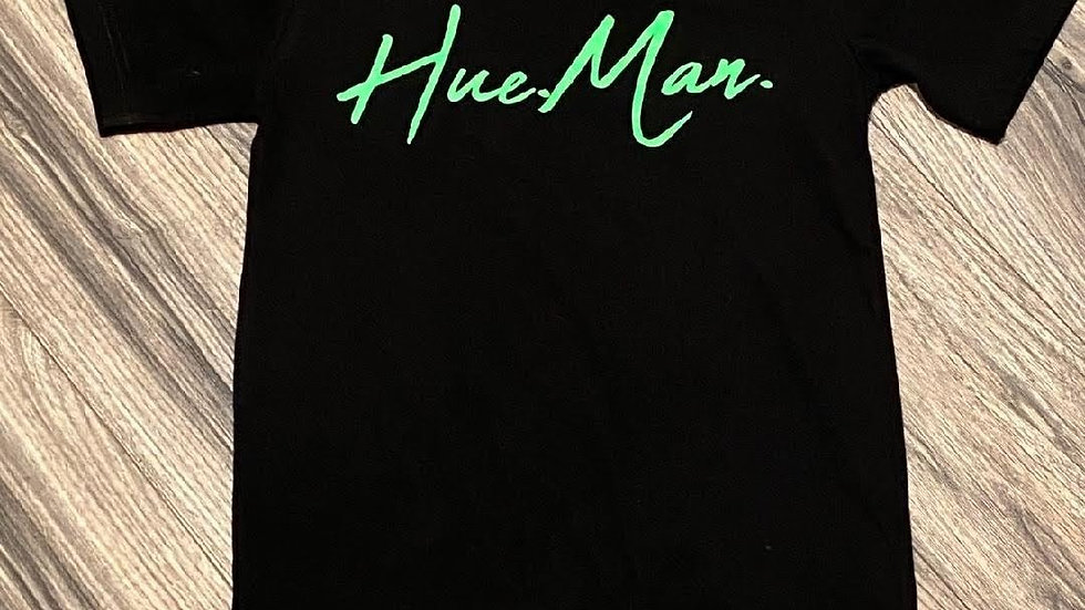 Hue.Man. Short Sleeve Shirt (Black w/Green lettering)