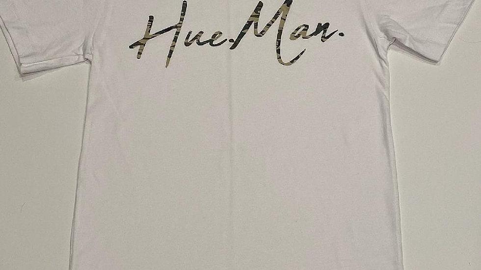 Hue.Man. Short Sleeve Shirt (White w/Camo lettering)