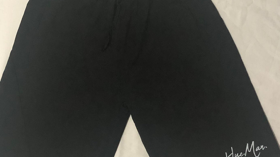 Hue.Man. Shorts (Black w/Gray cursive lettering)