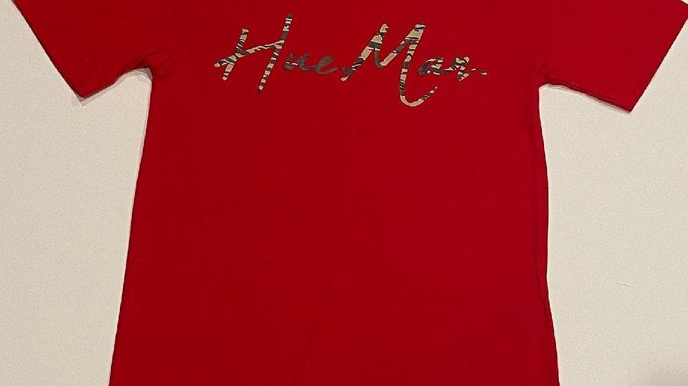 Hue.Man. Short Sleeve Shirt (Red w/Camo lettering)