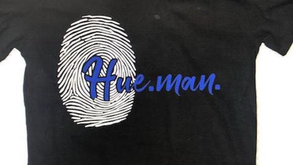 Hue.Man. Shirt (Black w/Blue lettering & Giant Thumb Print)