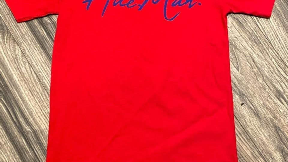 Hue.Man. Short Sleeve Shirt (Red w/Blue lettering)
