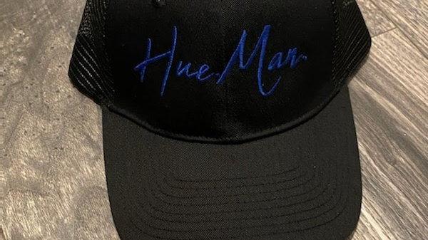 Hue.Man. Baseball Cap (Black w/Blue lettering)