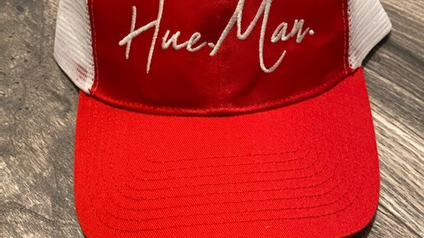 Hue.Man. Baseball Cap (Red & White w/White lettering)