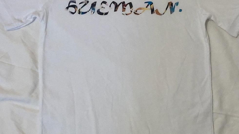 Hue.Man. Shirt (White w/Colorful Cursive lettering)