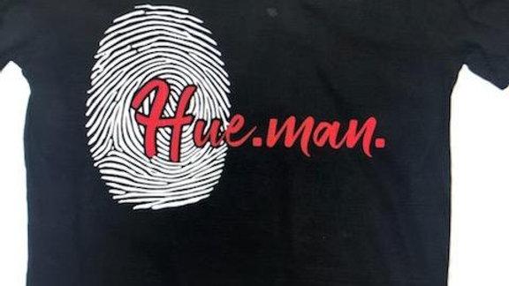 Hue.Man. Shirt (Black w/Red lettering & Giant Thumb Print)