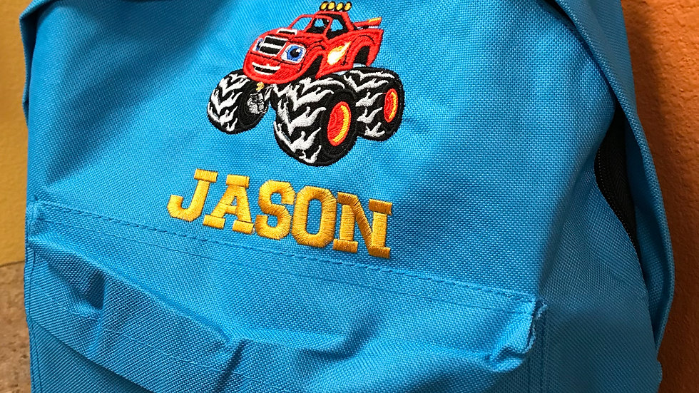 """BIG TRUCK"" Personalized Embroidered Boys Backpack"