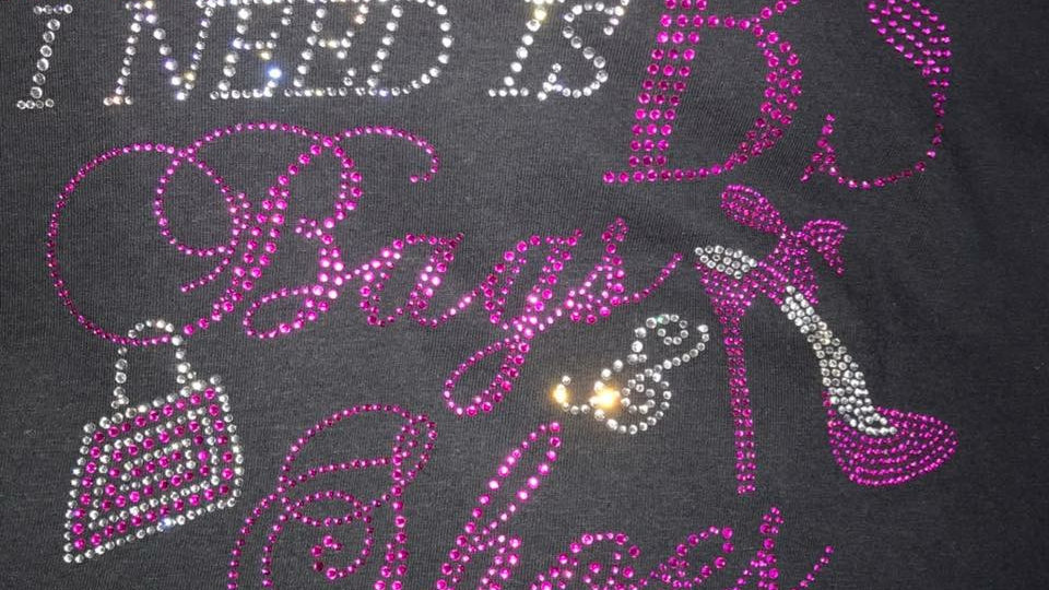 """""""BAGS AND SHOES"""" RHINESTONE T-SHIRT"""