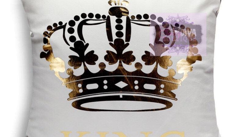 "GOLD FOIL ""CROWNED KING"" PILLOW CVER"