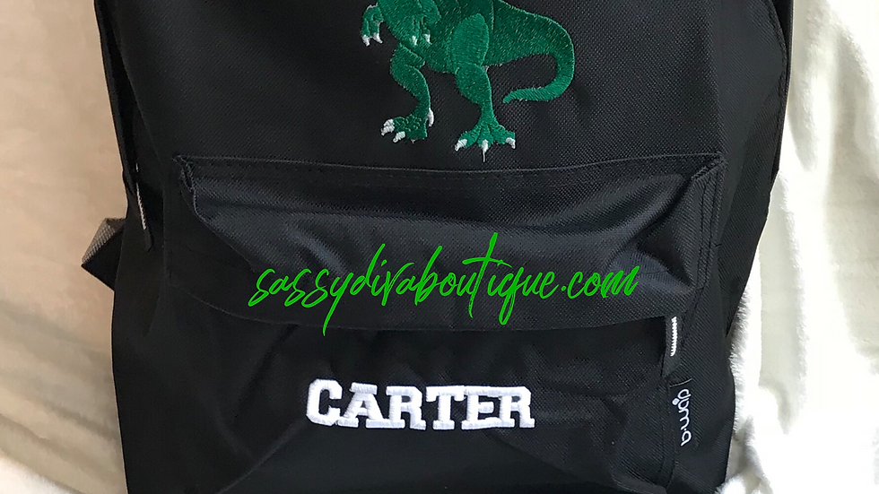 """T~REX"" EMBROIDERED PERSONALIZED BACKPACK"