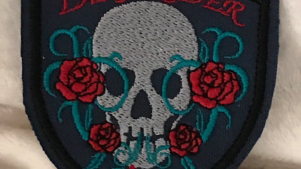 """LADY BIKER"" SKULL IRON ON PATCH"