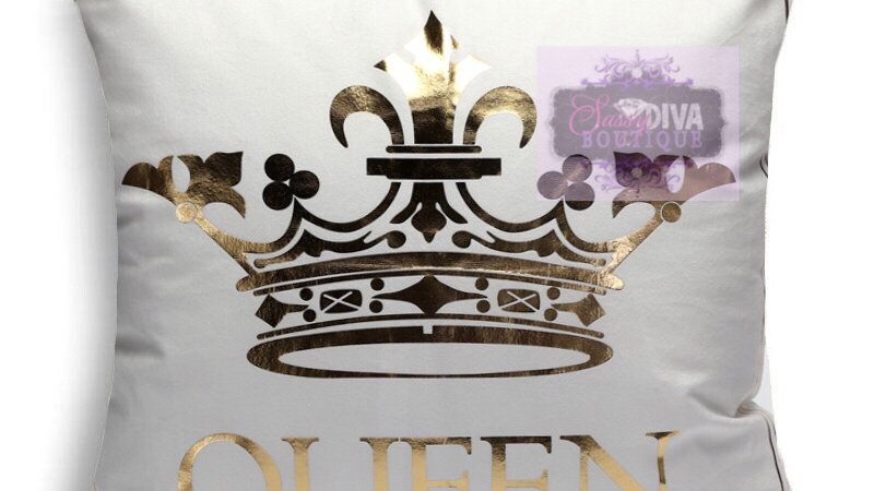 "GOLD FOIL ""CROWNED QUEEN"" PILLOW COVER"