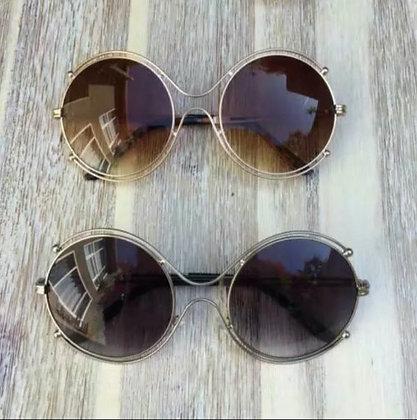 70's Oversized Big BOHO ISIDORA Jackie O Double Halo Metal Women Sunglasses