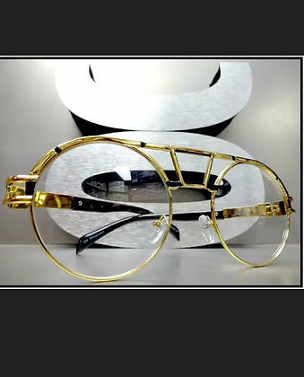 Men OVERSIZE RETRO Hip Hop Style Clear Lens EYE GLASSES Round Gold Fashion Frame