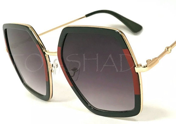 Women Sunglasses Oversize Large Fashion Square Luxury Vintage Green Red Eyewear
