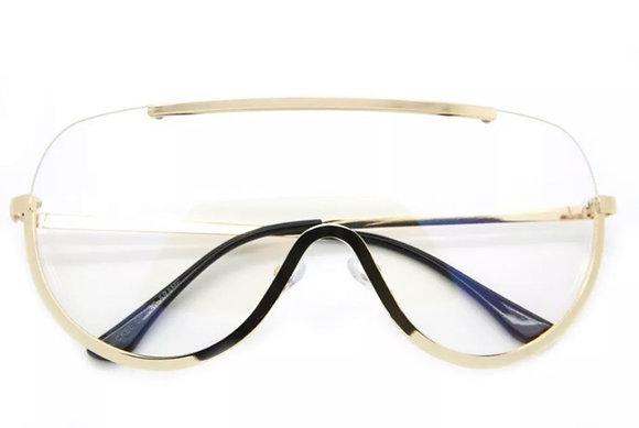Oversized Aviator Clear Lens Sunglasses Gold Silver Metal Frame Women Fashion