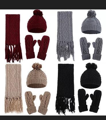 Scarf Gloves Hat Set Women Unisex Warm Knitted Beanie Pompom Winter Snow Ski Cap