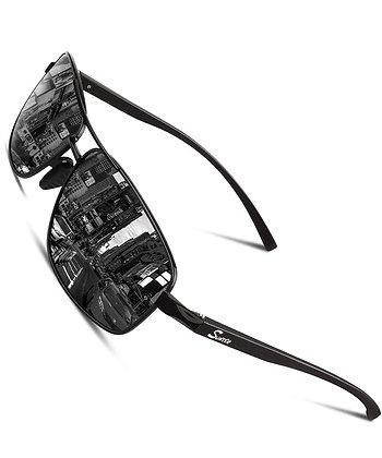 SUNIER Polarized 80's Retro Classic Square Frame Sunglasses