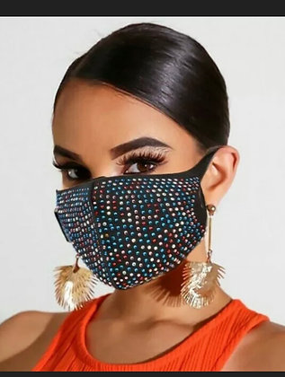 Reusable Washable Crystal Glitter Rhinestone Sparkly Bling Cloth Face Mask Cover