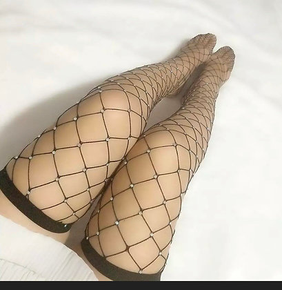 Crystal Rhinestone Fishnet Net Hollow Out Sparkle Mesh stockings