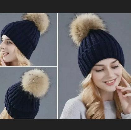 Women Girl Winter Pom Pom Beanie w/Real Raccoon Fur Wool Knitted Cuff Hat Navy
