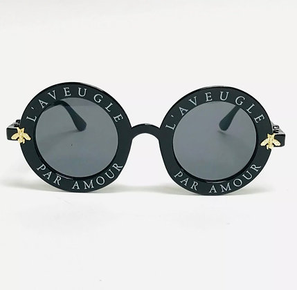 Women Sunglasses Design Fashion Round Fancy Comfortable Flat Lens Bug Moth Bee