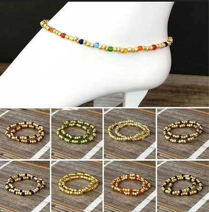 Glass Beads Stretch Ankle Bracelet