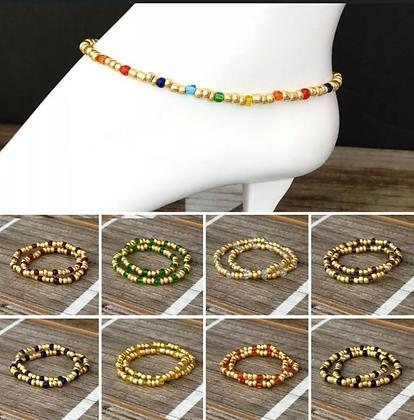 Glass Beads Stretch Ankle Bracelet