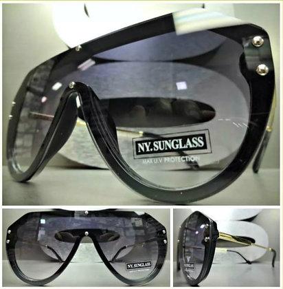 Oversize Retro Designer Shield Style Sunglasses Black & Gold Flat Lens