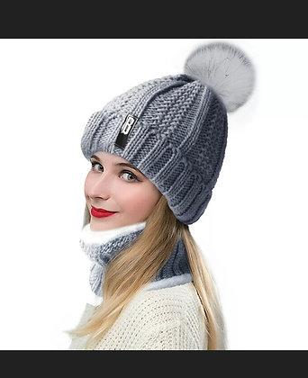 Women Winter Beanie Hat Scarf Set Lined Knitted Warm Ski Snow Pompom Skull Cap