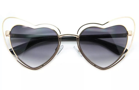 Designer Oversized LOVE Heart Shaped Sunglasses Large Metal Frame
