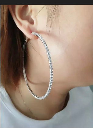 "Bling Bling 3"" Silver Rhinestone Crystal Hoop Earrings Big Circle"