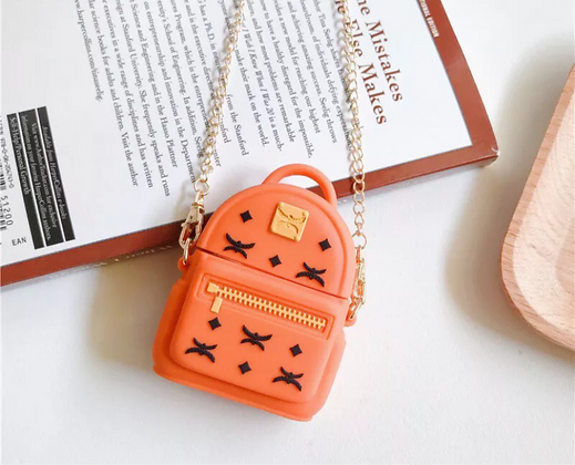 Cute Fashion Backpack Bag With Chain AirPods 1/2 Gen Case Cover 3D Soft Silicon