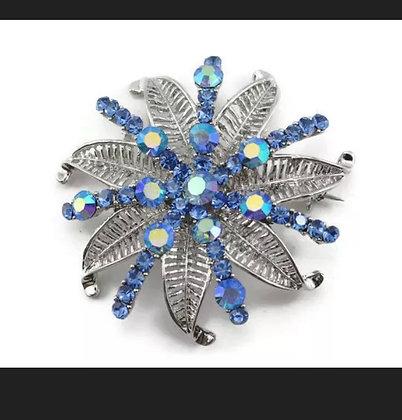 Blue Fancy Austrian Rhinestone Crystal ClassicBridal Wedding Brooch Pin