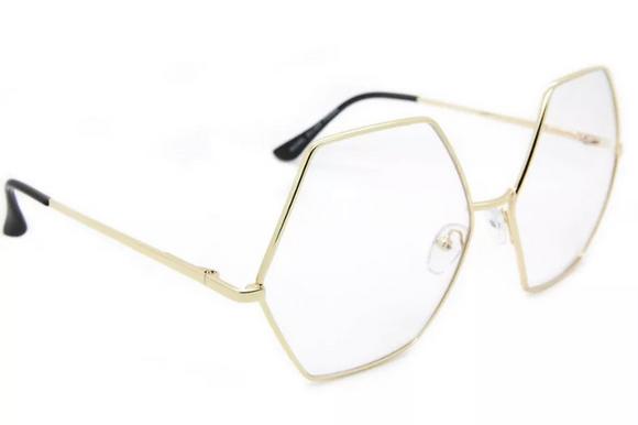 Oversized Women Fashion Eyeglasses Hexagon Gold Metal Frame Clear Lens
