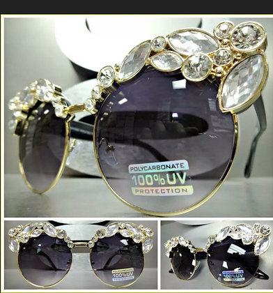 OVERSIZED Luxury RETRO Style SUN GLASSES Gold & Black Frame Huge Bling Crystals