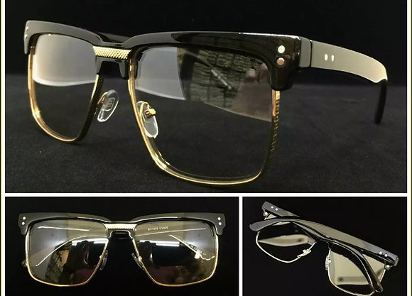 Mens Classy Elegant Retro Style Clear Lens EYE GLASSES Square Gold & Black Frame