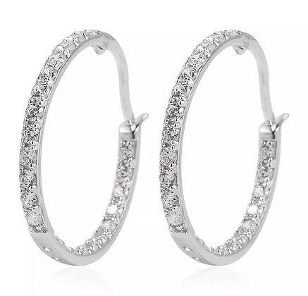 Sterling Silver White Cubic Zirconia CZ Hoops Hoop Earrings