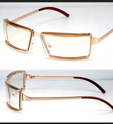 Rectangular Clear Lens Glasses Designer Fashion Wrap Around Rose Gold