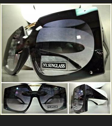 New OVERSIZED VINTAGE RETRO SHIELD Style SUN GLASSES Large Black Frame Flat Lens