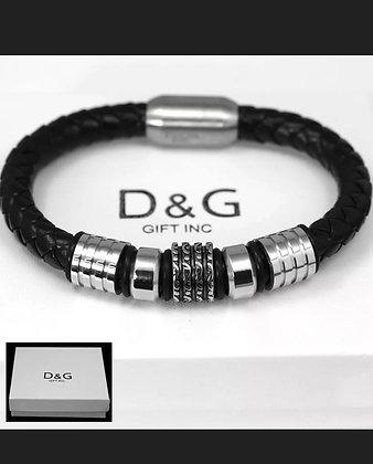 DG Men's Stainless-Steel.Silver Black.Braided Leather,Magnetic.Bracelet + BOX