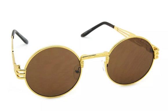 Round Boho Sunglasses Flat Lens Gold Metal Frame