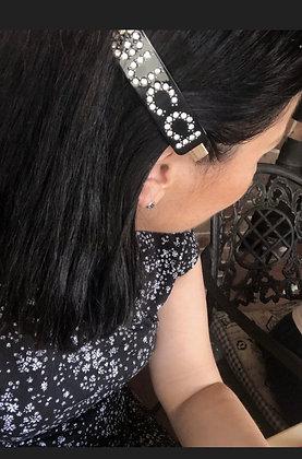 Brand New Hair Clip Black  Embellished Crystals Logo Barrette