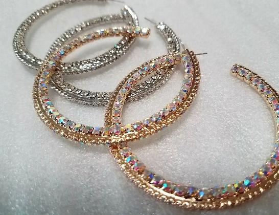 Elegant Crystal Hoop Earrings C Shaped Rhinestones Iridescent Silver Gold Hoops