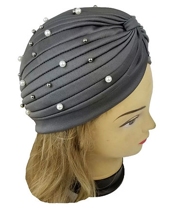 Pearl Beads Stretchy Turban Head Wrap Band Women Chemo Pleated Indian Cap Hat